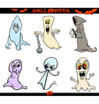 halloween ghosts cartoon set vector image vector image