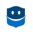 happy smiley protection blue modern shield symbol vector image vector image