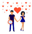 heart in large envelope and tiny people valentines vector image vector image