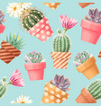 high detail succulent and cactus seamless pattern vector image vector image