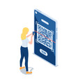 isometric woman use smartphone scanning qr code vector image vector image