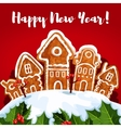 New Year gingerbread town poster vector image vector image