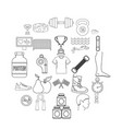 professional sportsman icons set outline style vector image vector image