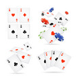 realistic 3d detailed poker card and chip set vector image