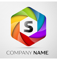 S Letter colorful logo in the hexagonal on grey vector image vector image