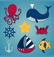 set of nautical themed ocean animals and boat vector image