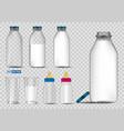 set realistic bottle milk isolated fresh milk vector image