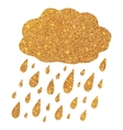 Shining golden glitter cloud with rain drops vector image vector image
