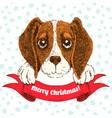 sketch of funny beagle puppy vector image vector image