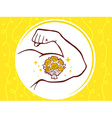 strong man hand with icon of bouquet of vector image vector image