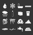 water icons set grey vector image vector image