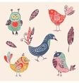 Color vintage cute cartoon birds doodle set vector image