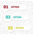 01 02 03 options template with houses pattern vector image