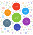 7 vacation icons vector image vector image