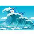 A shark above the big waves vector image vector image