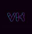 alphabet letter combination vk v k logo company vector image vector image