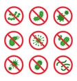 antibacterial icon set crossed symbol vector image