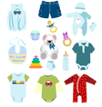 Baby boy elements clothes vector image vector image