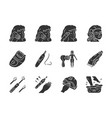 beauty devices glyph icons set home and salon vector image vector image