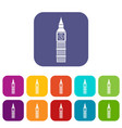 big ben clock icons set vector image vector image