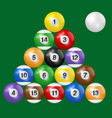 billiard balls triangle isolated green background vector image