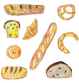 Bread and pastry set for the bakery in sketchy vector image vector image