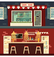 Cafe-Bar Facade and Interior in flat style vector image vector image