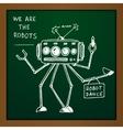 chalk draw robot vector image vector image