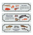 colored marine food horizontal banners vector image vector image