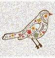 Colorful floral bird on dotted background vector image vector image