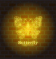 design neon glowing butterfly vector image