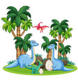 dinosaur in nature template vector image vector image