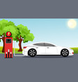 electric car flat infographic concept white color vector image vector image