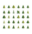 fir tree icon christmas trees set pine flat vector image