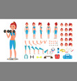 fitness girl animated sport female vector image vector image