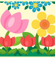 garden flowers background trees grass game vector image vector image