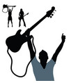 girl and man silhouette with guitar vector image vector image