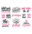 girls rule the world grl pwr etc hand lettering vector image