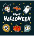 halloween design elements cartoon pumpkins mummy vector image vector image