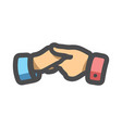 handshake teamwork help hands cartoon vector image
