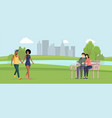 happy couples outdoors flat vector image vector image
