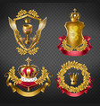 heraldic royal emblems with golden monarch crowns vector image