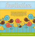 Invitation card with colorful birds vector image vector image