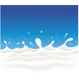 milk waves and splash on blue background vector image vector image