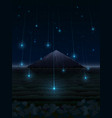night landscape with mountain and starfall vector image vector image