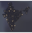 Night map of India with shiny cities vector image vector image