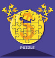 puzzle pieces in shape circle vector image vector image