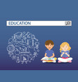 reading boy and girl with education search engine vector image vector image