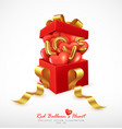 realistic red balloons heart and letter love vector image vector image