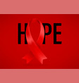 red ribbon on background hope aids awareness vector image